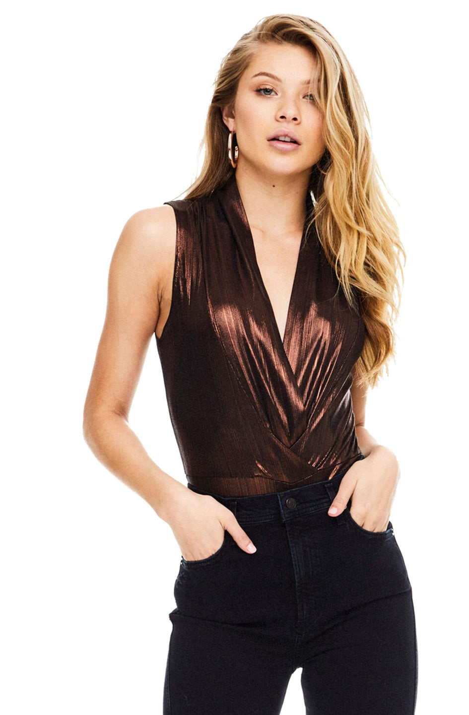 2c382dededdc The Taryn Metallic Plunge Bodysuit – ASTR The Label