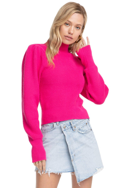 Mock Neck Puff Sleeve Sweater