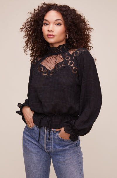 Marisol Lace Mock Neck Top