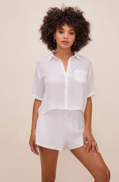 Chrysanthe Short Sleeve Button Up Top