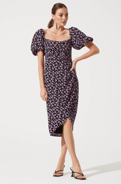 Square Neck Bubble Sleeve Dress