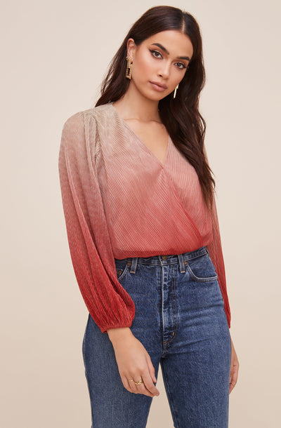 Ombre Pleated Surplice Top