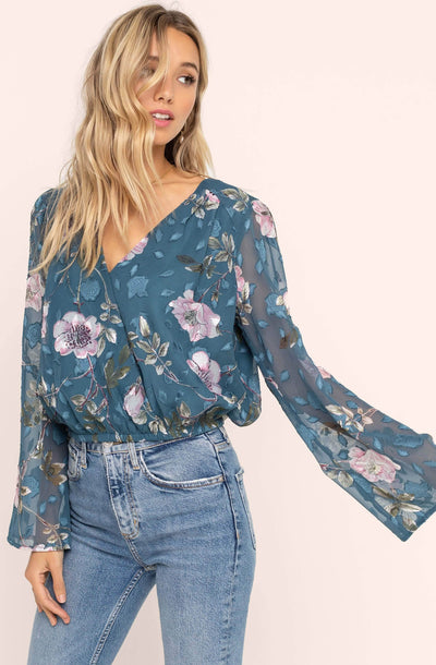 Surplice Floral Burnout Top