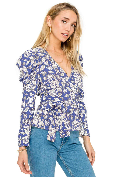Ruffle Long Sleeve Wrap Front Tie Top