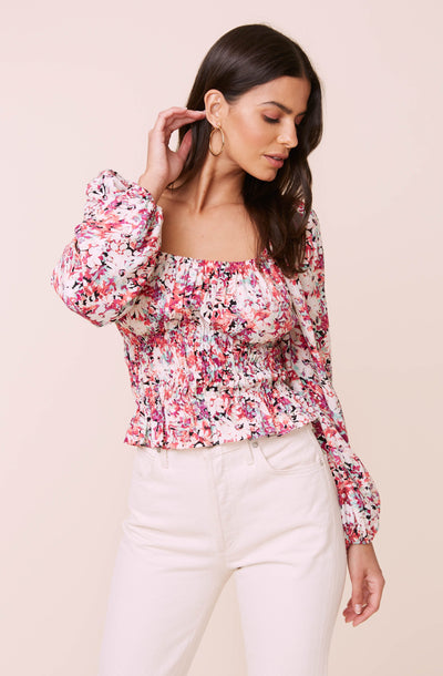 Long Sleeve Square Neck Floral Smocked Top