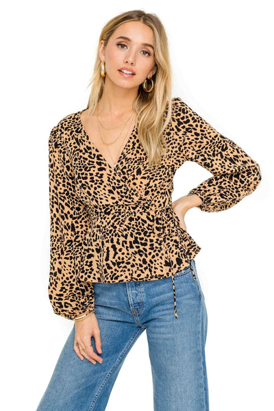 Long Sleeve Wrap Front Tie Leopard