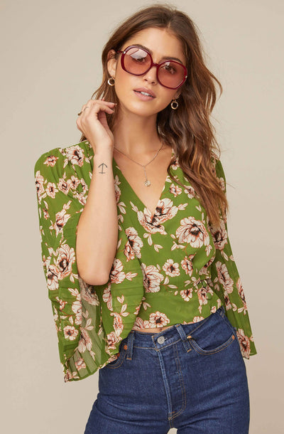 Pleated Sleeve Floral Wrap Top