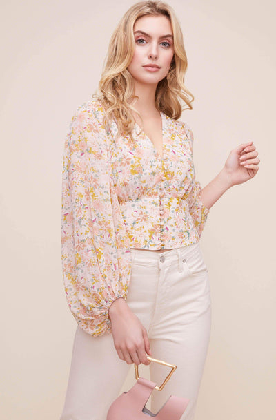 Volume Sleeve Floral Top