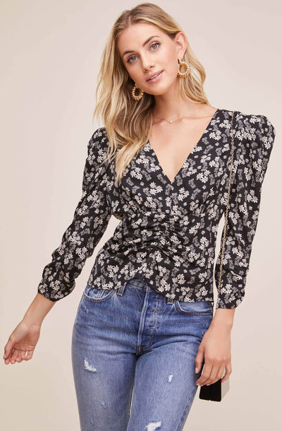 Shirred Floral Top