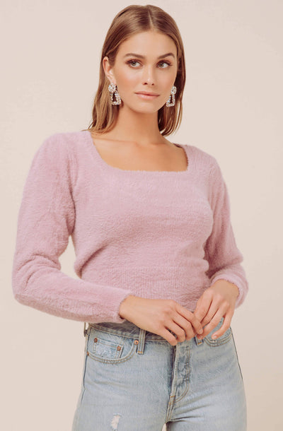 Square Neck Fuzzy Sweater