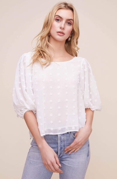 Tie Back Blouson Sleeve Dot Top