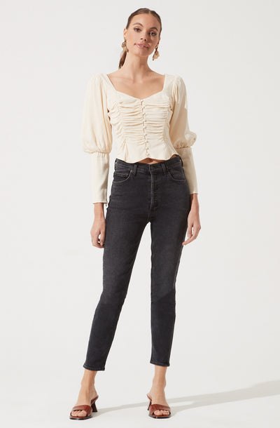 Long Sleeve Ruched Button Front Top