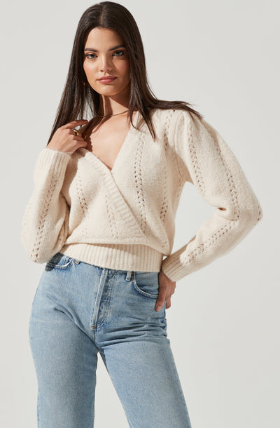 Wrap Pointelle Sweater