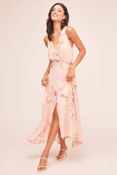 Ruffle Wrap Front Sleeveless Maxi