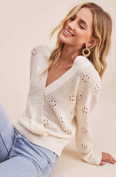 Stephanie Pointelle Wrap Sweater