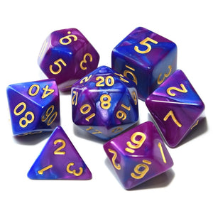 free nebula polyhedral dice set with pouch kinetic gadgets