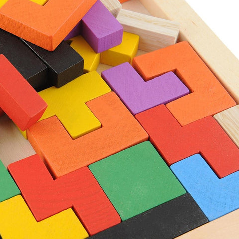 Image of Board Game - Colorful Wooden Tetris Puzzle