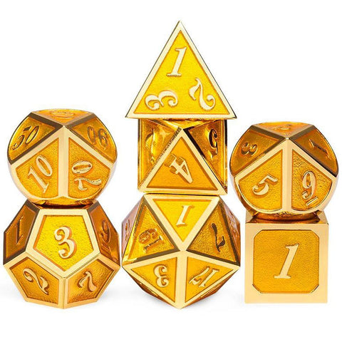 Dice - 7 Piece Metal Enamel Dice Set With Velvet Bag