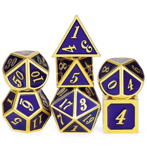 7 Piece Metal Enamel Dice Set with Velvet Bag