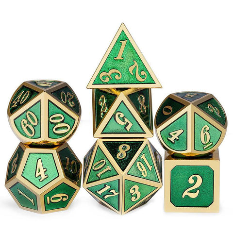 Image of Dice - 7 Piece Metal Enamel Dice Set With Velvet Bag