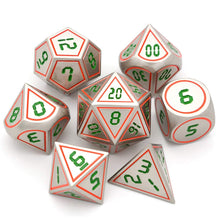 Dice - 7 Piece Retro Inspired Metal Dice Set With Velvet Bag