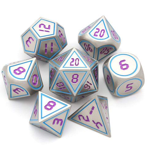 Image of Dice - 7 Piece Retro Inspired Metal Dice Set With Velvet Bag
