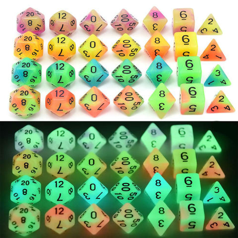 Image of Dice - Dual Color Glowing Monsters Polyhedral Dice Set With Pouch
