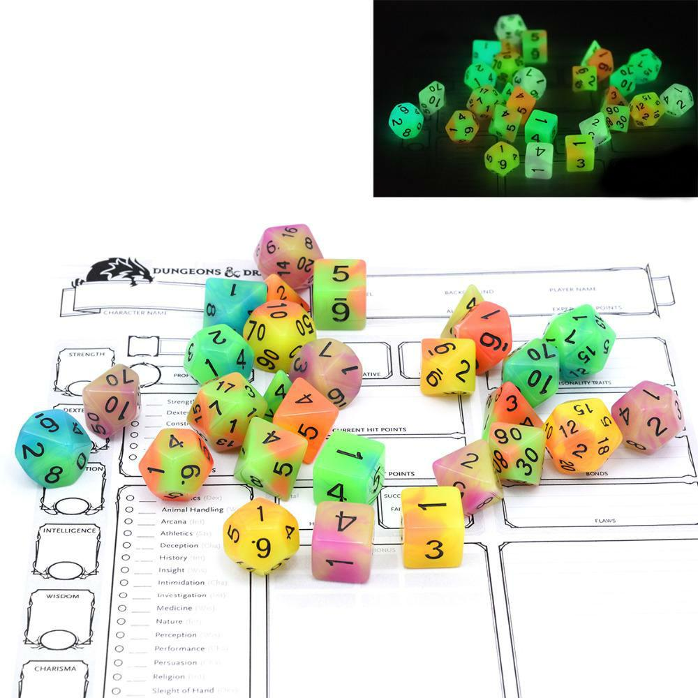 Dice - Dual Color Glowing Monsters Polyhedral Dice Set With Pouch