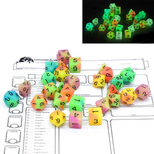 Dual Color Glowing Monsters Polyhedral Dice Set With Pouch