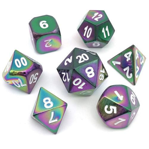 Dice - Flame Treated Metal Dice Set (7 Pc) With Velvet Bag