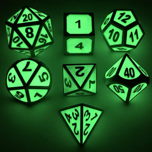Dice - Glow In The Dark Metal Dice Set