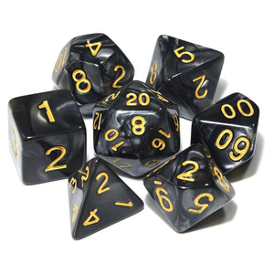 Marbled Pearl Finish Polyhedral Dice Set