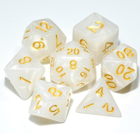 Dice - Marbled Pearl Finish Polyhedral Dice Set