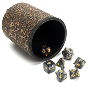 Dice - Mystic Runes Leather Dice Cup With 7 Piece Polyhedral Dice Set