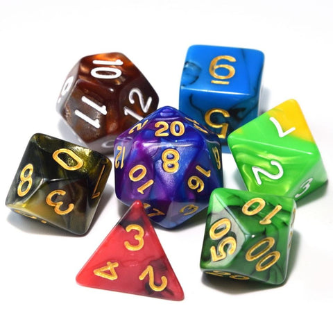 Image of Dice - Nebula Polyhedral Dice Set With Pouch