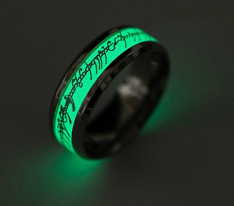 Glowing Ring With Elvish Script