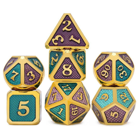 Image of Home - Triple Color Dragon Scale Metal Enamel Dice Set With Pouch (7 Pieces)
