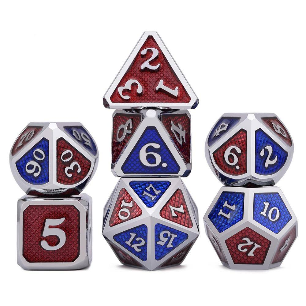 Home - Triple Color Dragon Scale Metal Enamel Dice Set With Pouch (7 Pieces)