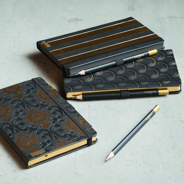 CASTELLI-STRIPES NOTEBOOK-GOLD