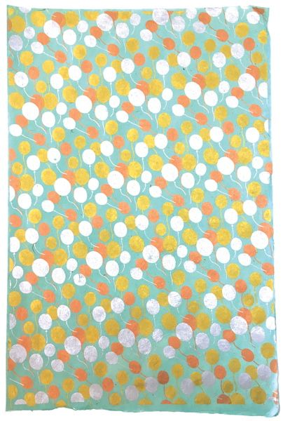 GIFTSLAND-WRAPPING PAPER-BALLOONS GOLD COPPER SILVER ON POOL