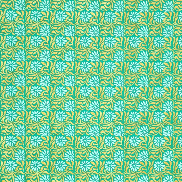 Giftsland-Wrap-Gold/White On Sea Green