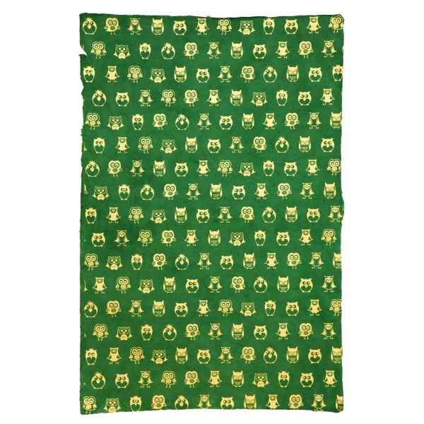 Giftsland-Wrap-Owls Gold On Green