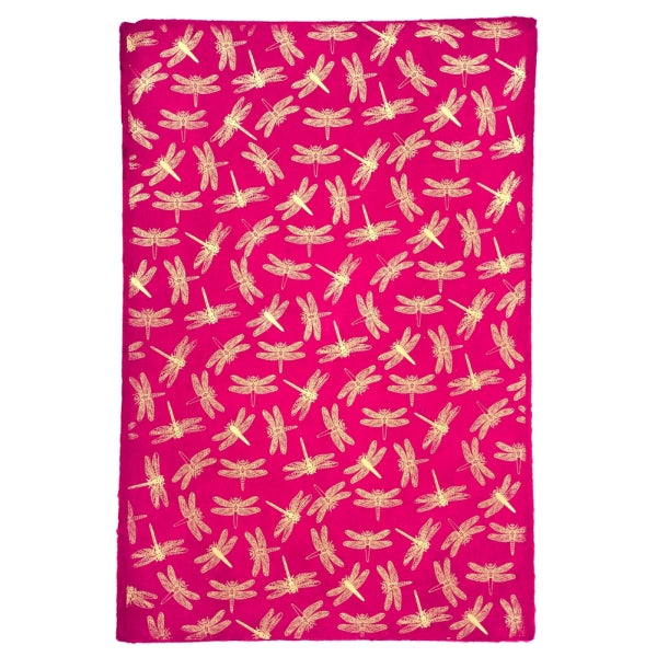 Giftsland-Wrap-Dragonfly Gold On Magenta