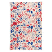 GIFTSLAND-WRAPPING PAPER-TRAVEL RED/BLUE ON NATURAL