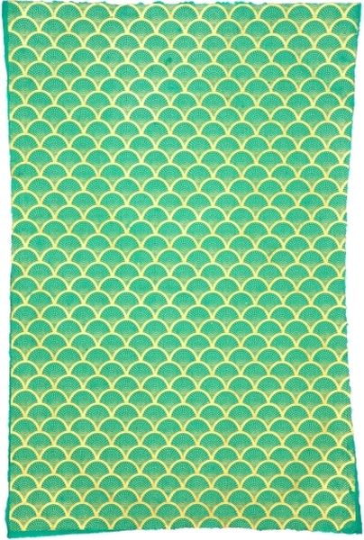 Giftsland-Wrap-Fan Gold On Sea Green