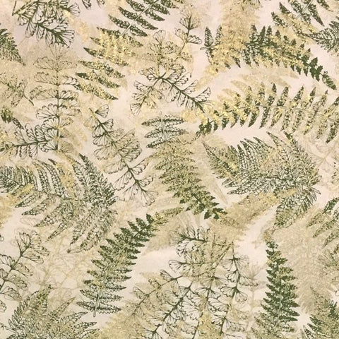 GIFTSLAND-WRAP-FERNS OLIVE/GOLD ON NATURAL