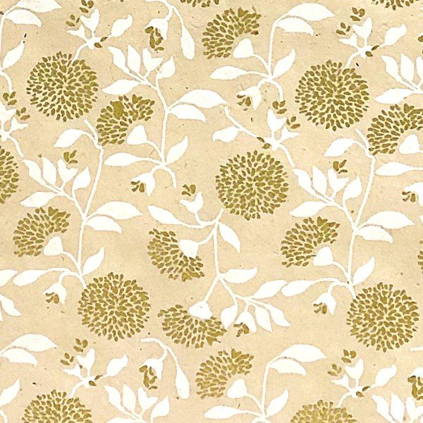 GIFTSLAND-WRAP-MUMS FLOWER GOLD/WHITE ON WHITE
