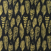 GIFTSLAND-WRAPPING PAPER-FEATHERS GOLD ON BLACK