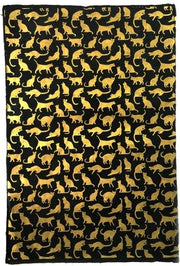 GIFTSLAND-WRAP-CATS GOLD ON BLACK