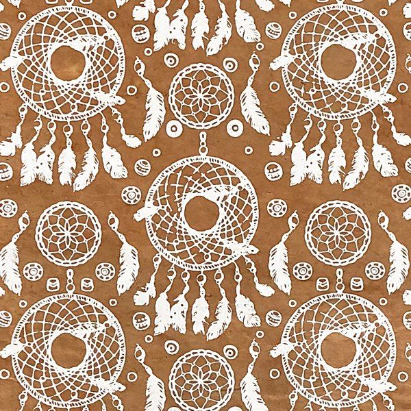 GIFTSLAND-WRAP-DREAMCATCHER WHITE ON DARK SAND